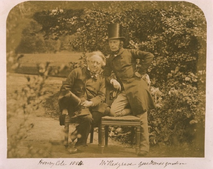 Sir Henry Cole and Richard Redgrave in the garden of the Gore House.