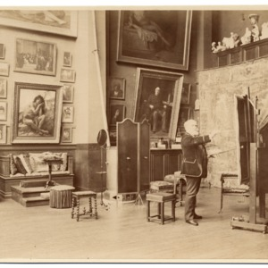 Alexandre Cabanel in his studio painting, ca. 1885